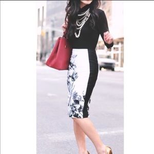WHBM White Floral Pencil Skirt
